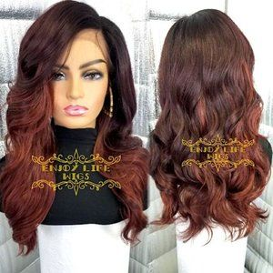 Sexy Beautiful Auburn colored lace front wavy